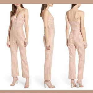 NWT Leith Sleeveless Linen Blend Stripe Jumpsuit